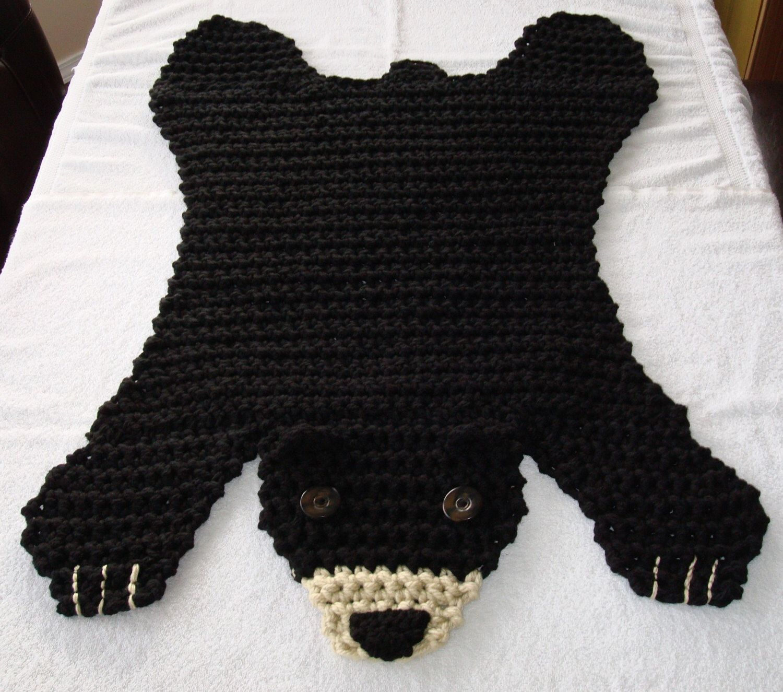 Crocheted black bear rug handmade bear rug floor rug
