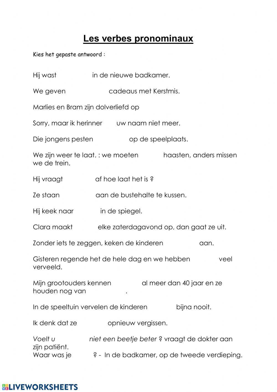 Les Verbes Pronominaux En Neerlandais Interactive Worksheet Learn Dutch Workbook Videos Tutorial [ 1413 x 1000 Pixel ]