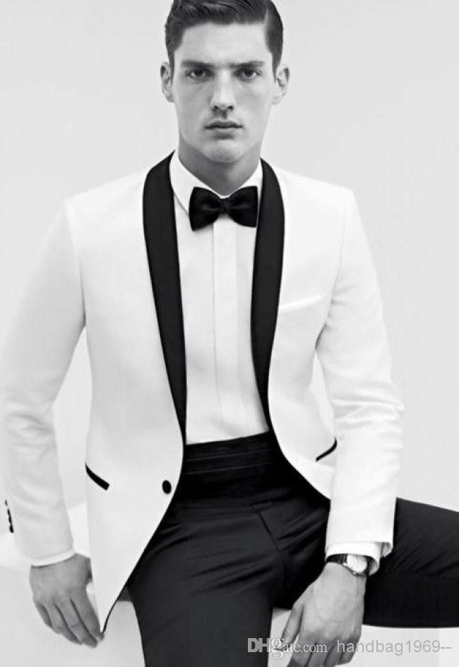 Top Pouplar White With Black Collar Groom Tuxedos Men\'s Prom Suit ...