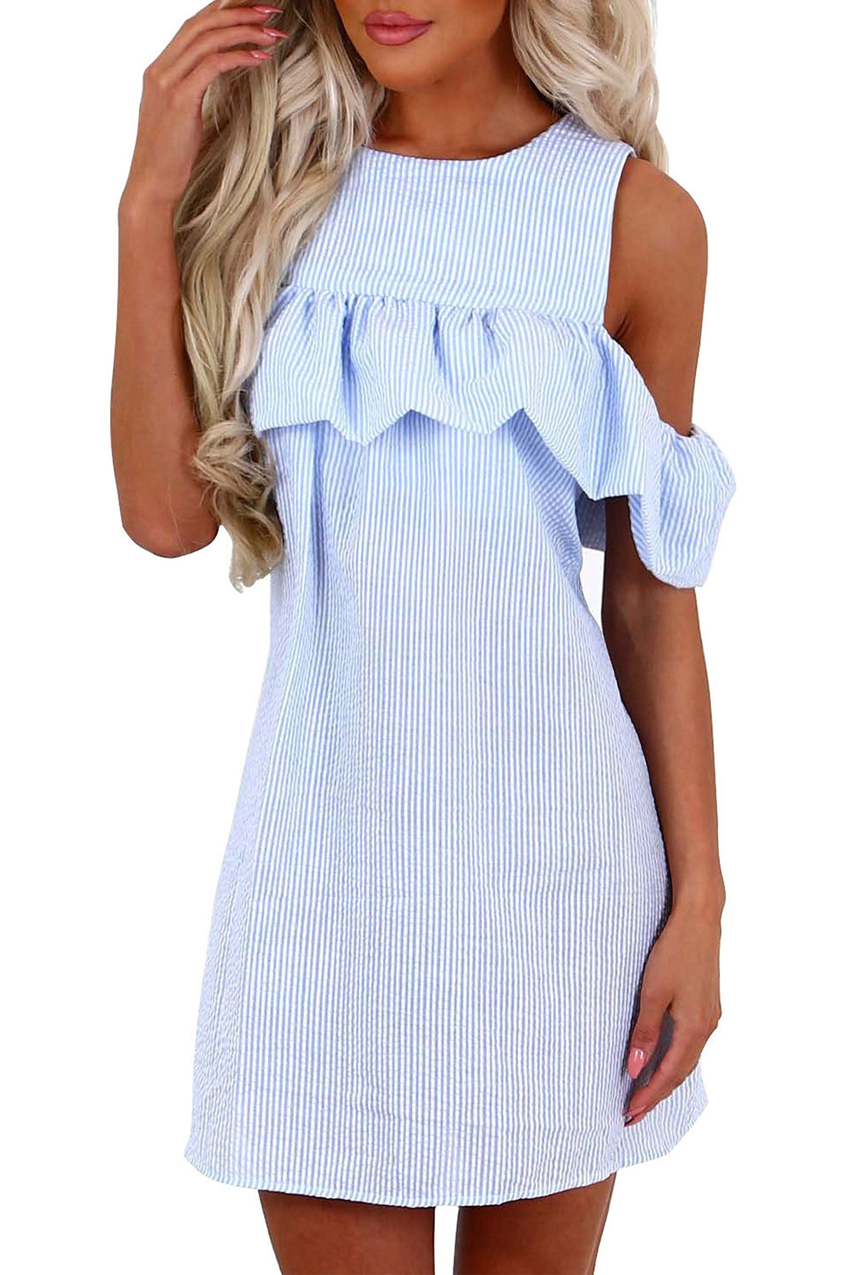 0c694494606c ChongXiao Womens Summer Off Shoulder Striped Ruffles Strapless Short  Dresses Mini Dresses XL Blue   Want additional info  Click on the image(It  is Amazon ...