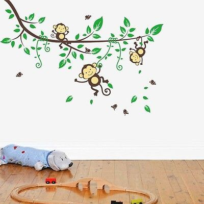 Cool Wandtattoo Wandsticker Kinderzimmer Aufkleber Tiere Kinder Wald Affe Baum Baby