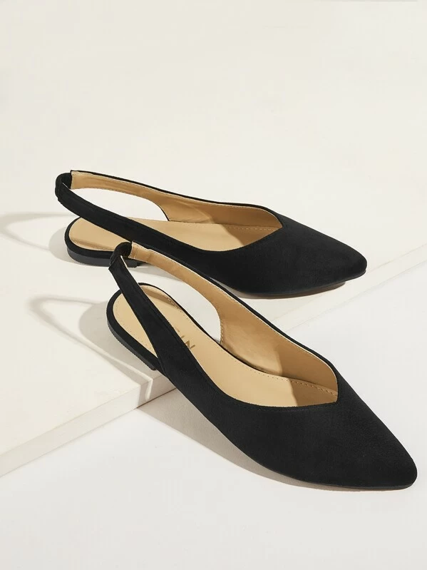 Solid Point Toe Slingback Flats for