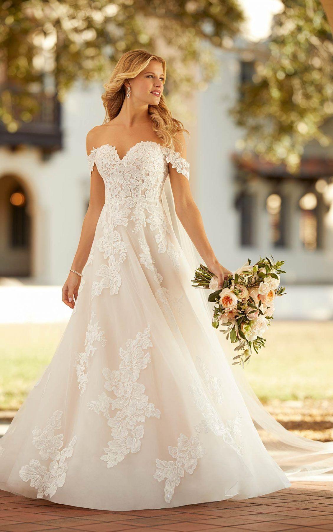 Garden Inspired Off The Shoulder Wedding Dress Kleinfeld Bridal In 2021 A Line Wedding Dress Ball Gowns Wedding Wedding Dresses Kleinfeld [ 1800 x 1129 Pixel ]