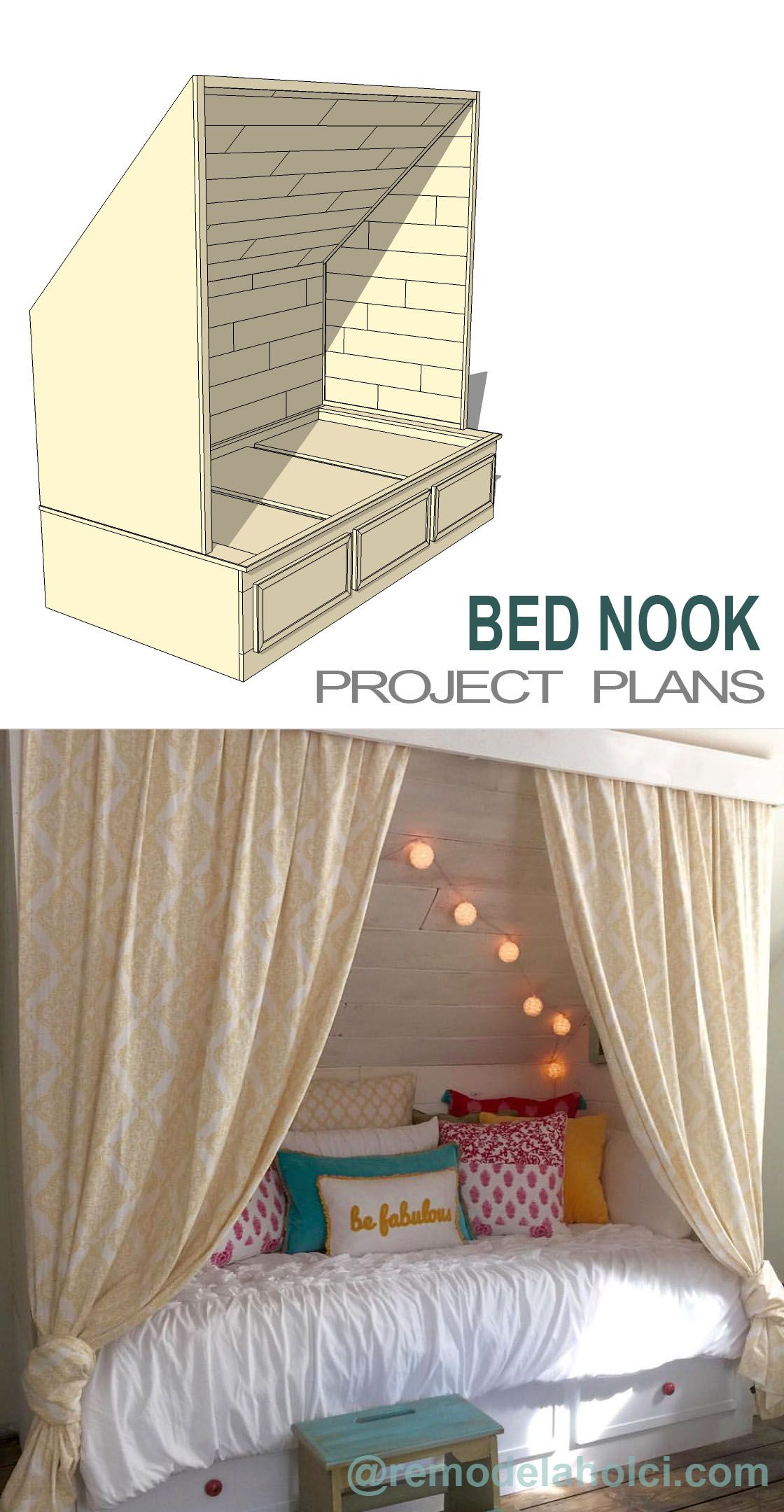 Remodelaholic | Beautiful Built-In Bed Nook with Storage Drawers