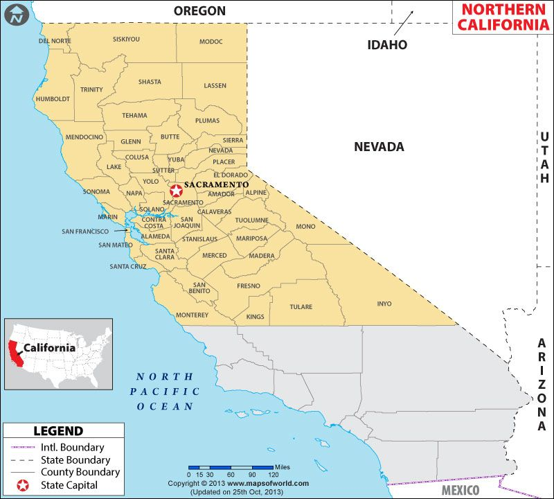 Map of Northern California showing the counties. | Maps (mostly