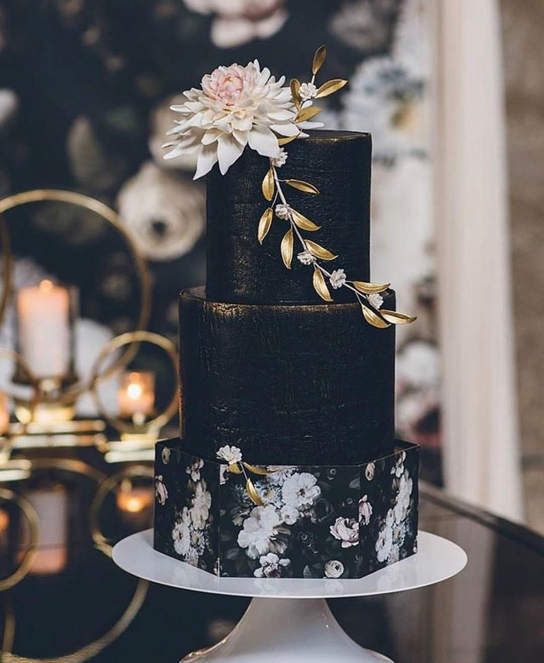 Black moody and rustic wedding cake
