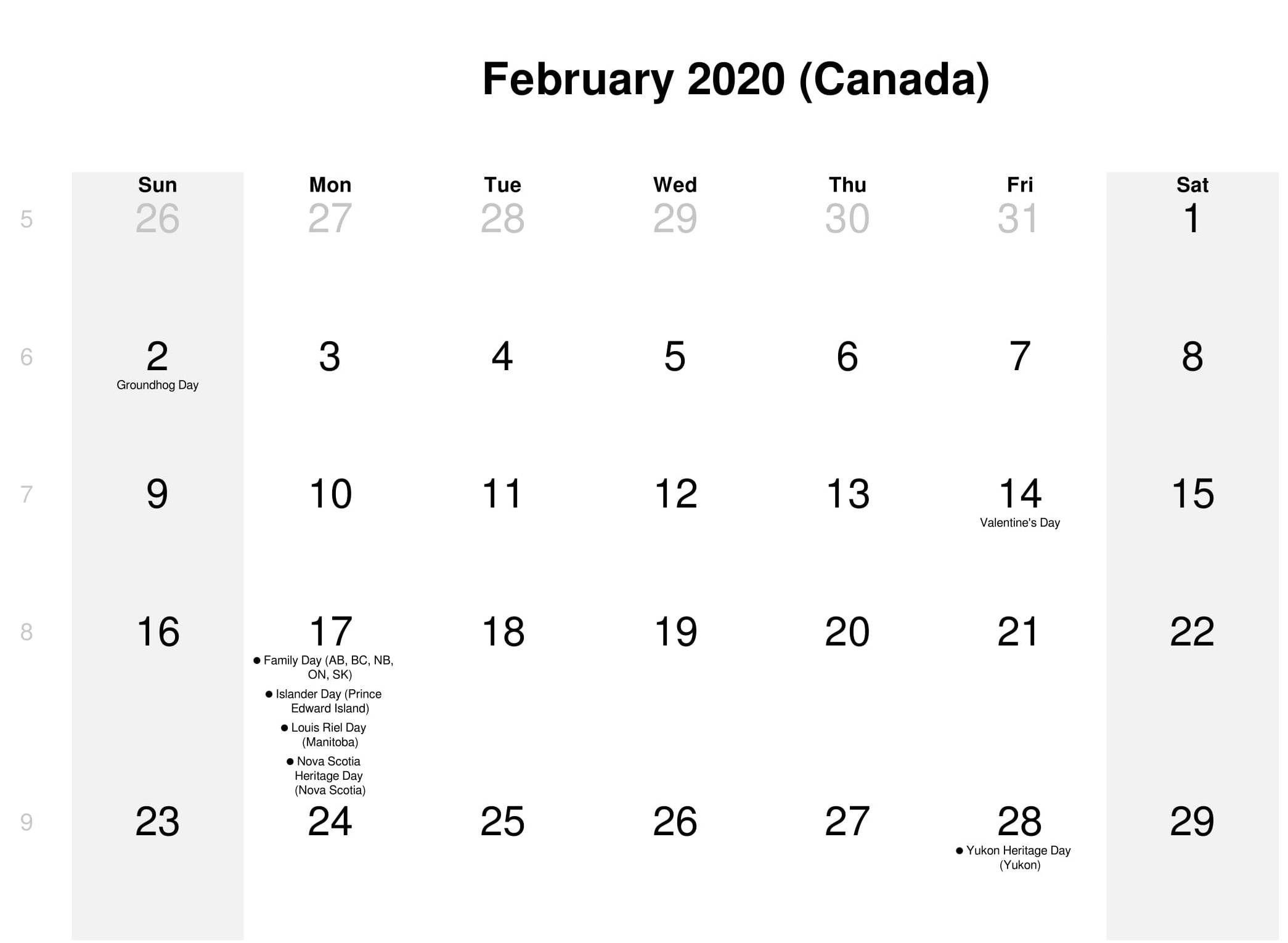 Canada Holidays Calendar February 2020 Holiday Calendar Canada
