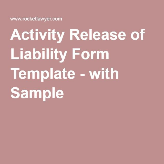 Activity Release Of Liability Form Template  With Sample