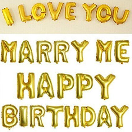 Amazon Fecedy Cute Gold Alphabet Letters Foil Balloons Happy Birthday Toys Games