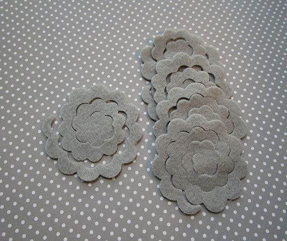 12 gray felt flower rosette DIY felt die cut out by WhimsyFelt