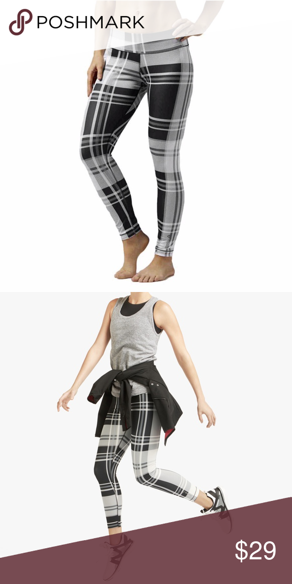 a2ec1e1fc41 Reebok Black White Plaid Yoga Leggings XS Reebok Black White Plaid Yoga  Leggings