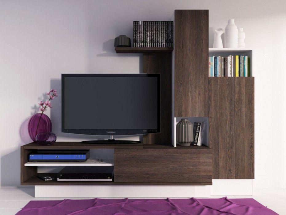 Mur TV BALINTO Avec Rangements Wengé Blanc Deco Pinterest - Meuble tv wenge pas cher pour idees de deco de cuisine