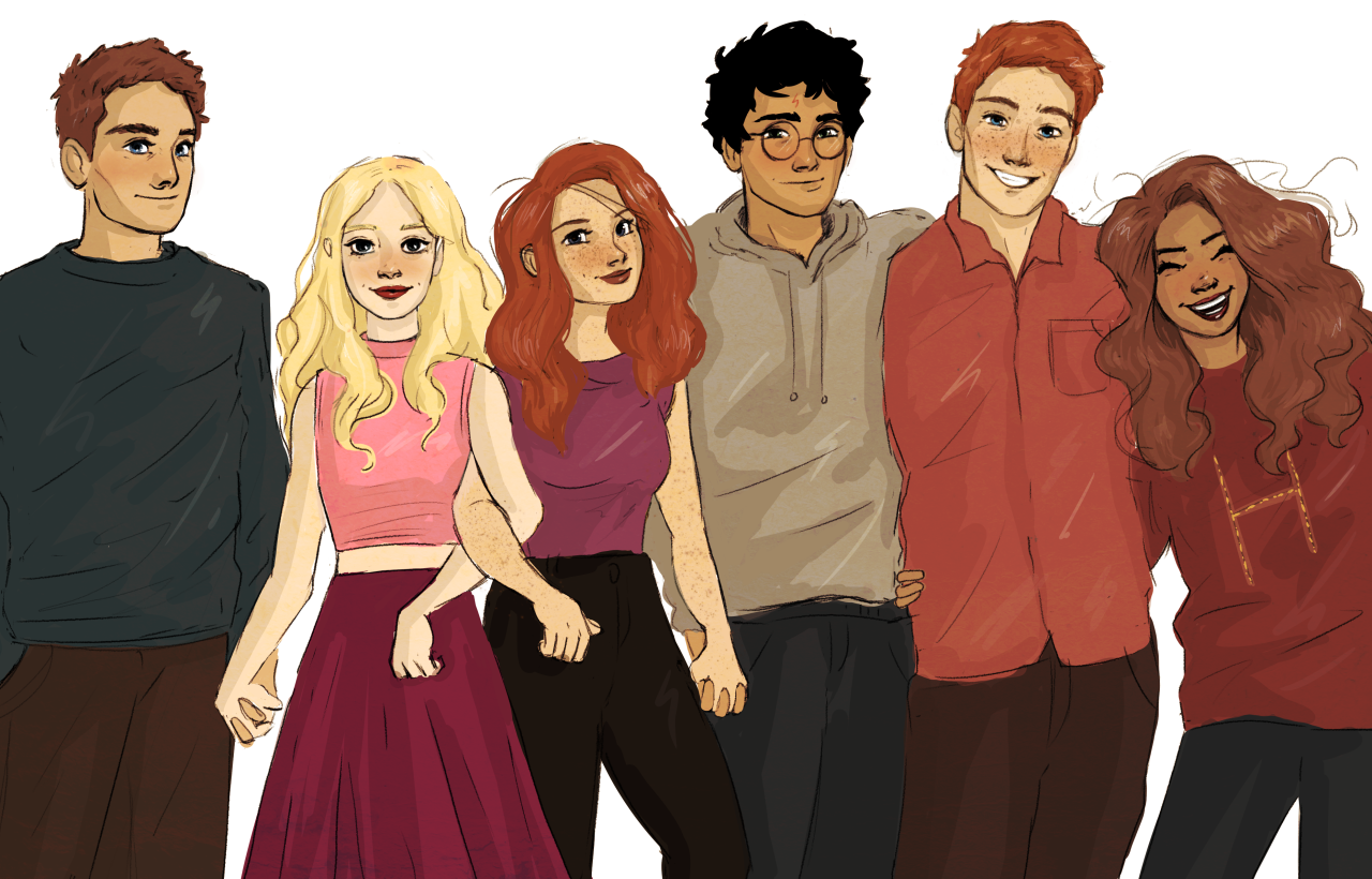 "lilabeanz: ""finished a commission for a really lovely person called Maggie! Neville, Luna, Ginny, Harry, Ron, and Hermione cheesin' for a photo """