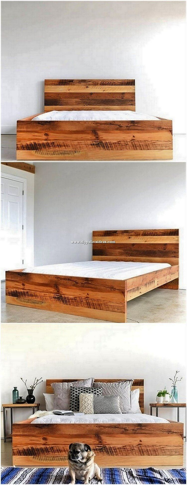 Innovative Diy Ideas Of Old Pallets Recycling Bed Frame Design