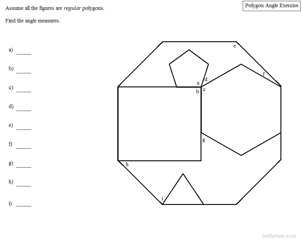 worksheet Regular Polygons Worksheet assuming all the figures are regular polygons can you determine angle measures