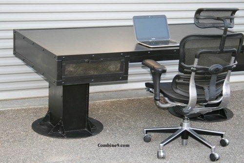 modern industrial desk slab vintage industrial desk with drawers steel beams custom sizes