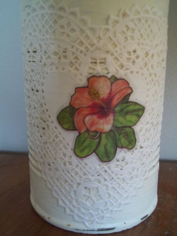 Shabby Chic Painted Tin Can Pencil Holder by vintagearmoire