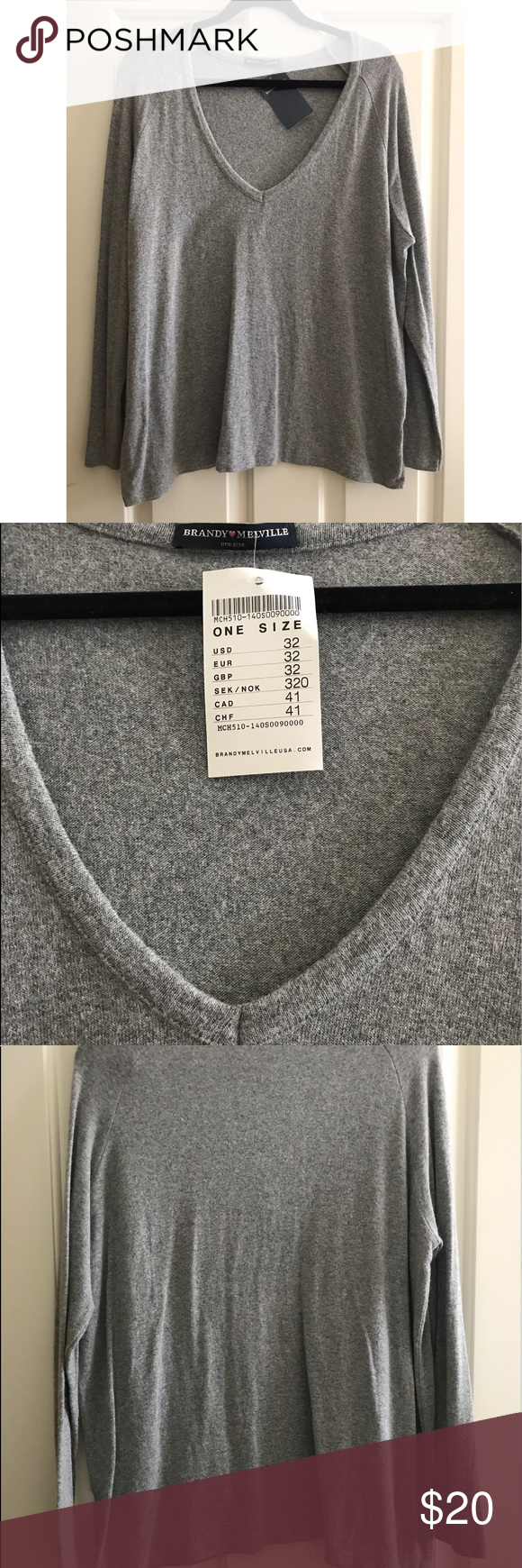 Brandy Melville grey vneck lightweight sweater NWT  0d8718b2b