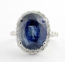 UNHEATED 12.97ct Sapphire & Diamond Ring (GIA)