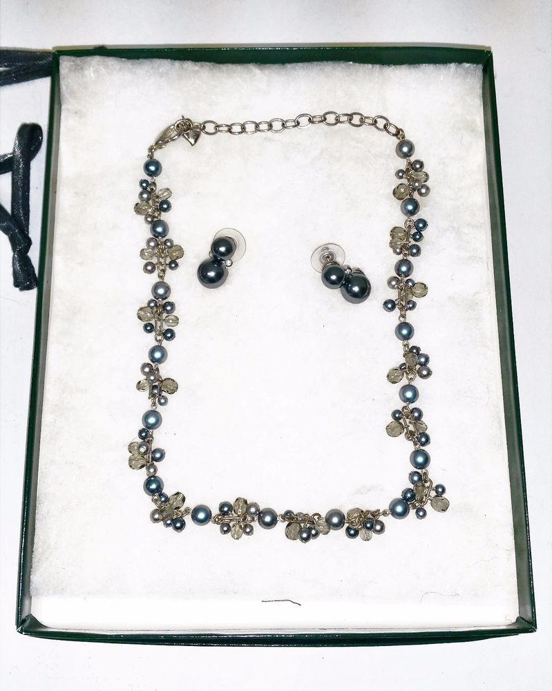Vintage Carolee Jewelry Necklace Earring Set Faux Black Pearl Signed