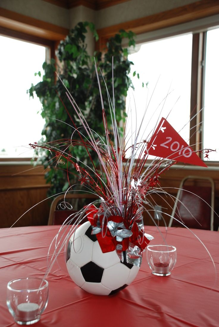 Sports ball table centerpieces google search red white