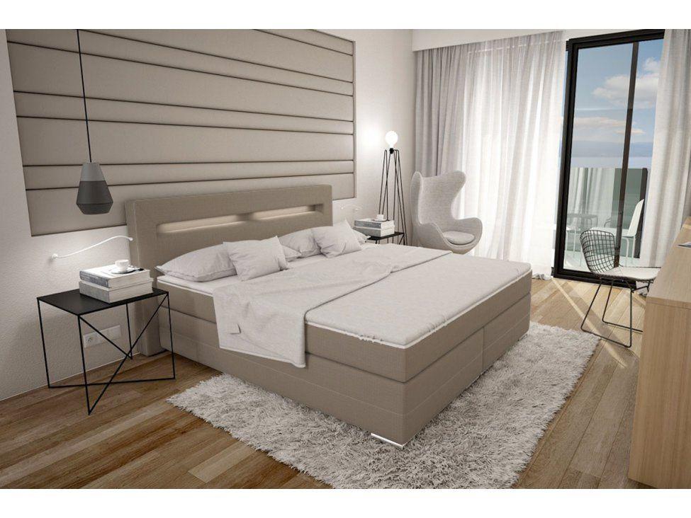 Boxspringbett Dalian 180x200 Cm Sandfarben Inklusive Led Sofa Gunstig Kaufen Sofa Design Boxspringbett