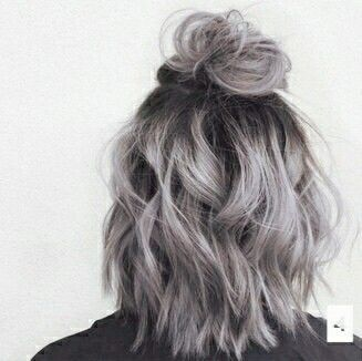 Grey Silver Short Curly Hair With Half Up Half Down Short Ombre Hair Short Hair Updo Brunette Hair Color