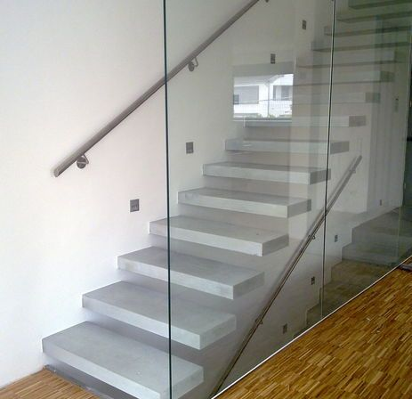 self supporting design concete stairs, modern exposed concrete stair