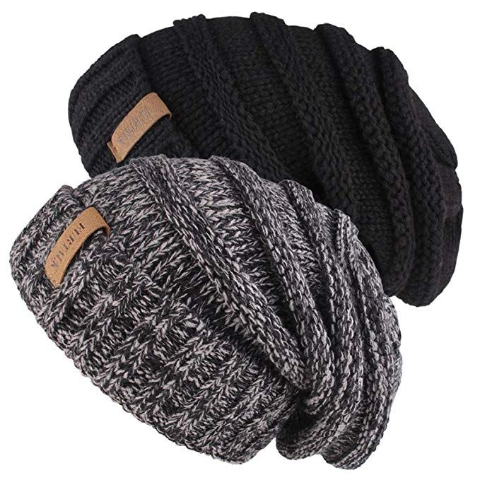 4faf77ef73e Knitted Winter Slouchy Beanie Hat - FURTALK Oversized Unisex Crochet Cable  Ski Cap Baggy Slouch Hats