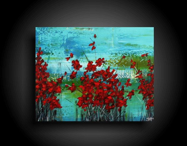 Large Abstract Painting 30 X 24 Red Flowers Blue Green