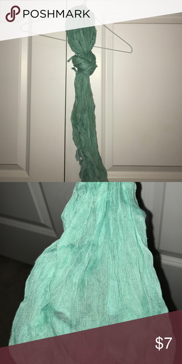 Mint Green Scarf with Tassels Mint green/blue scarf with tassels. Never worn, no tags. Other