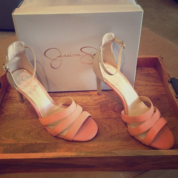 "Jessica Simpson Heels BRAND NEW!!! NEVER WORN!! ""Sunkissed Peach"" and Light Gray Leather Heels. 3 1/2 inch heel. Shoes are not for wider feet. Front Toe bed fits more narrow. Jessica Simpson Shoes Sandals"