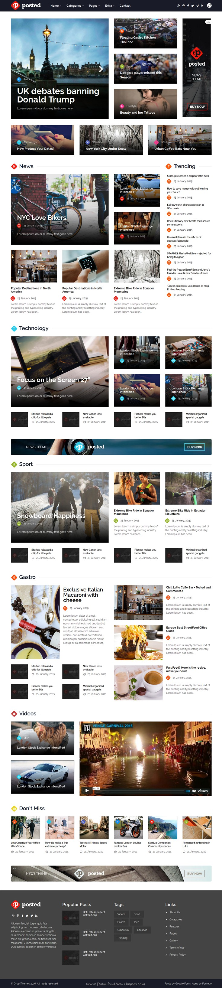 Posted News/Magazine Bootstrap HTML5 Template | Magazine website ...