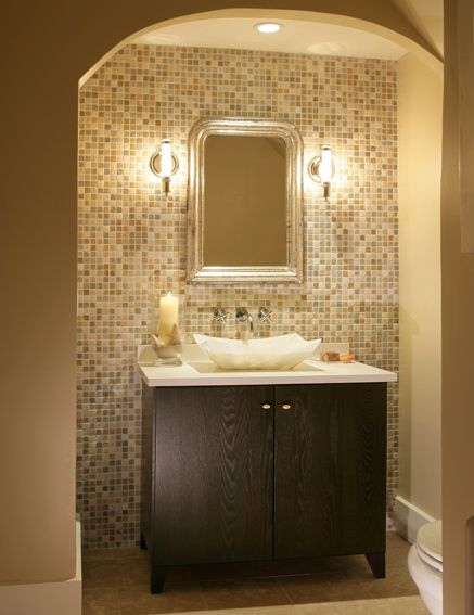 Blue Mosaic Tile Accent Wall Bathroom: I Like The Travertine Mosaic Tiles Behind The Vanity