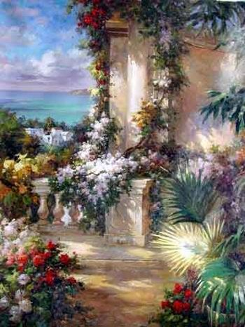 oil paintings of flower gardens garden oil paintings garden garden - Flower Garden Paintings