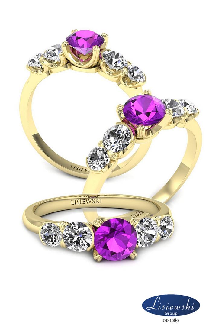Pierścionek Zaręczynowy Z Ametystem I Diamentami Złotypierścionek