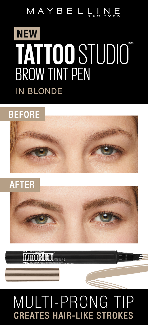 9601c69aa0d Maybelline TattooStudio Brow Tint Pens lets you create natural hair-like  strokes with ease. Here's a before and after of the Soft Brown shade of the  Brow ...