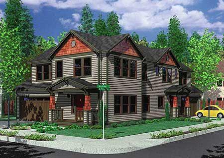 Plan 8155lb Duplex House Plan For The Corner Lot In 2021 Garage House Plans Family House Plans House Plans