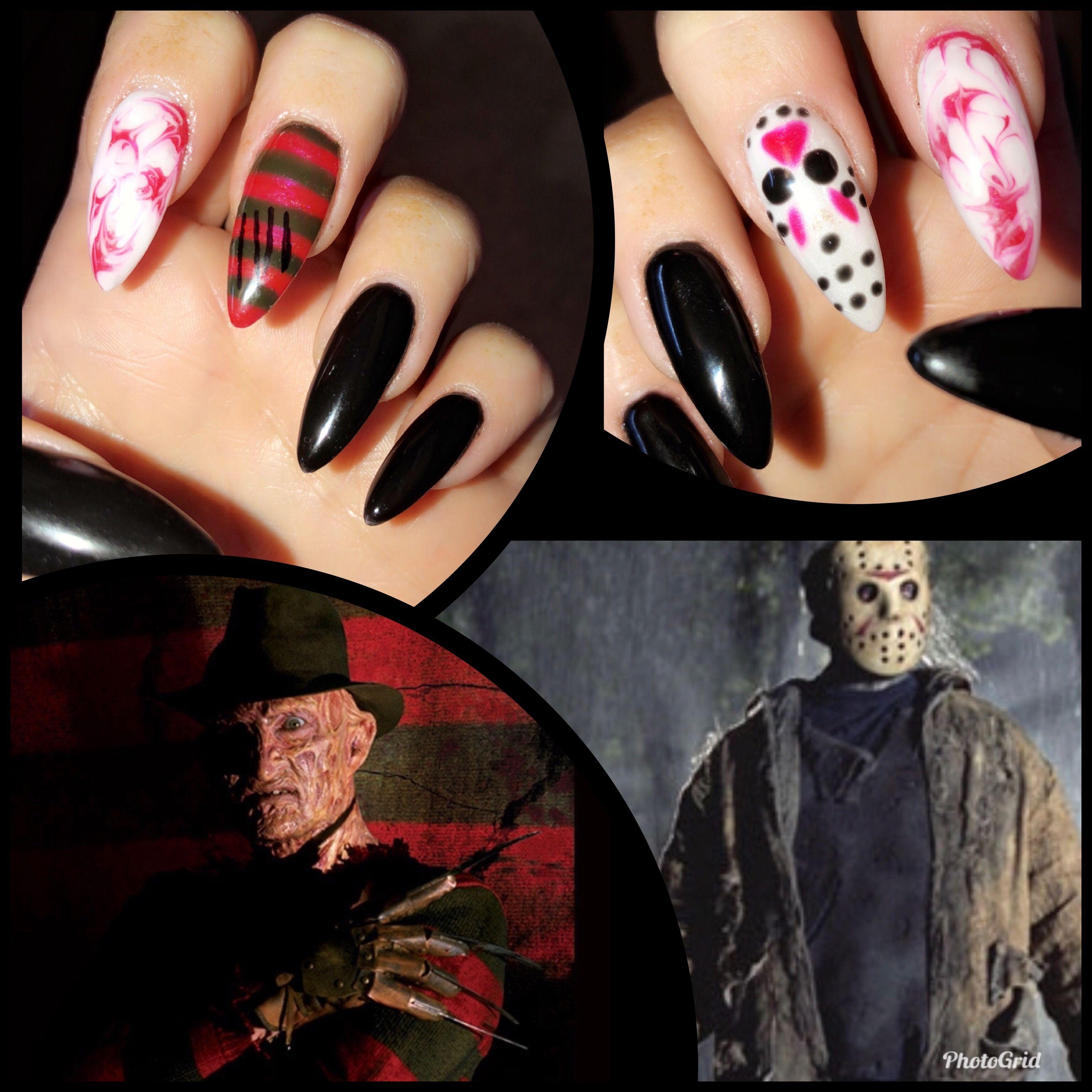 Freddy Vs Jason Halloween Nails Horror Nails Halloween Nails Holloween Nails