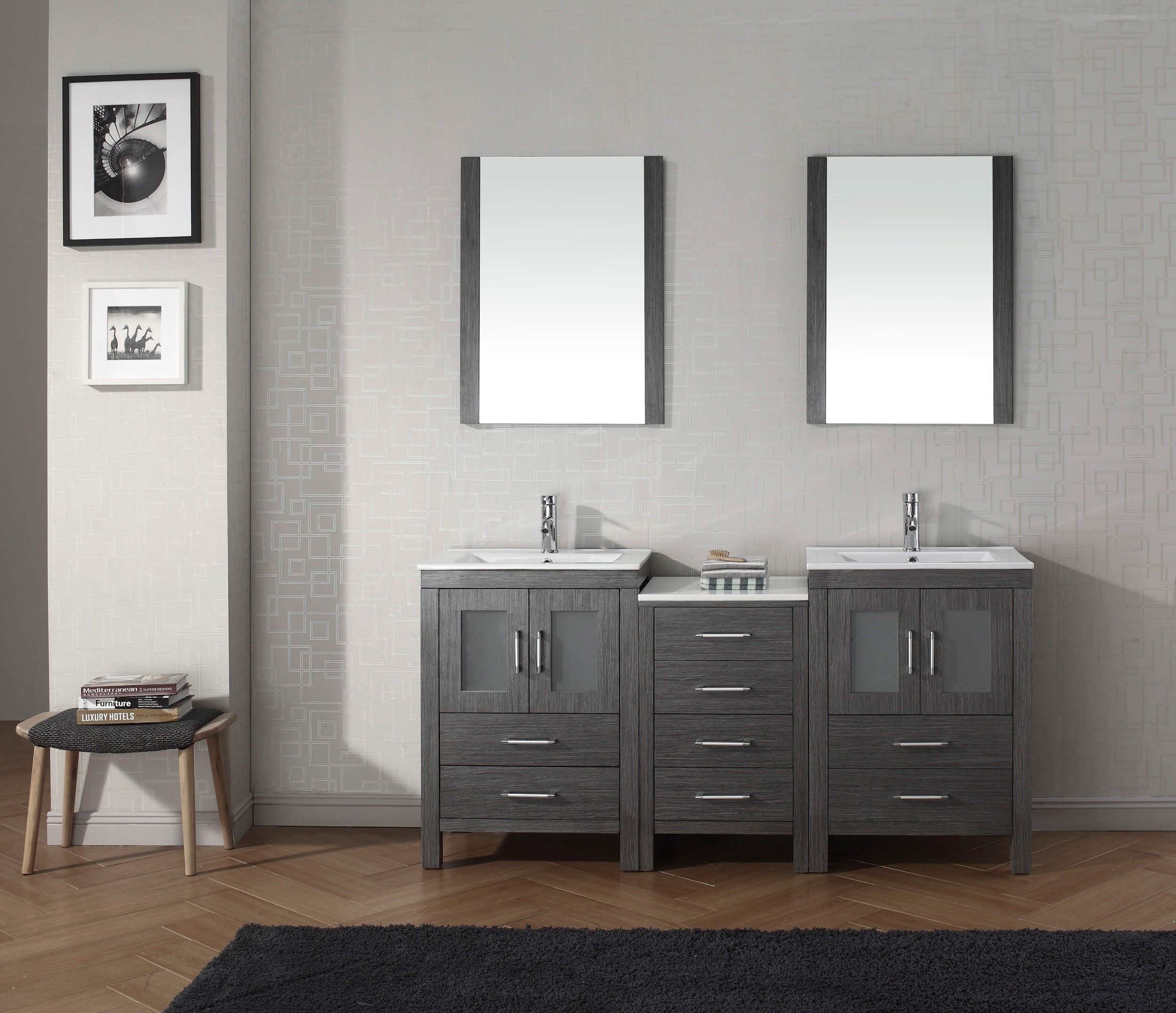 Polyurethane bathroom vanity unit with ceramic basin on metal legs - Dior 66 Double Bathroom Vanity Set In Zebra Grey