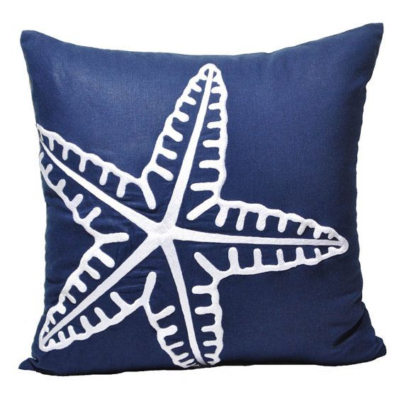 Navy Blue Nautical Beach Pillow Cover, Starfish Embroidered Pillow Case, Coastal Cabin Couch Pillow Decor