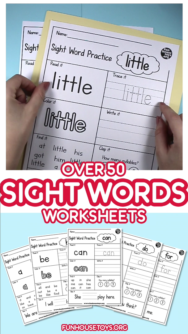Over 50 Sight Words Worksheets for writing tracing and