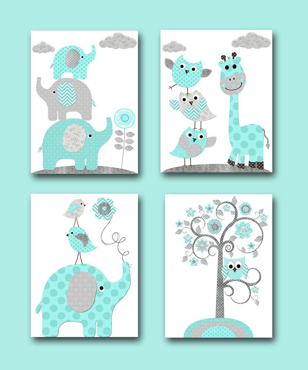 Baby Boy Nursery Wall Decor Elephant Giraffe Digital Print Instant Art Kids Room Set Of 4 8x10 11x14 By Nataera