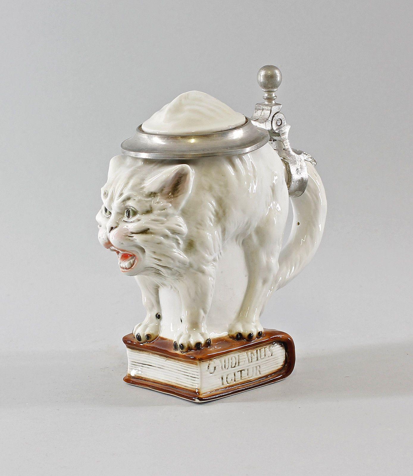 Porzellan Ernst Bohne Thüringen Bierkrug Humpen Katze 0,25l 9941772 in Antiquitäten & Kunst, Porzellan & Keramik, Porzellan | eBay