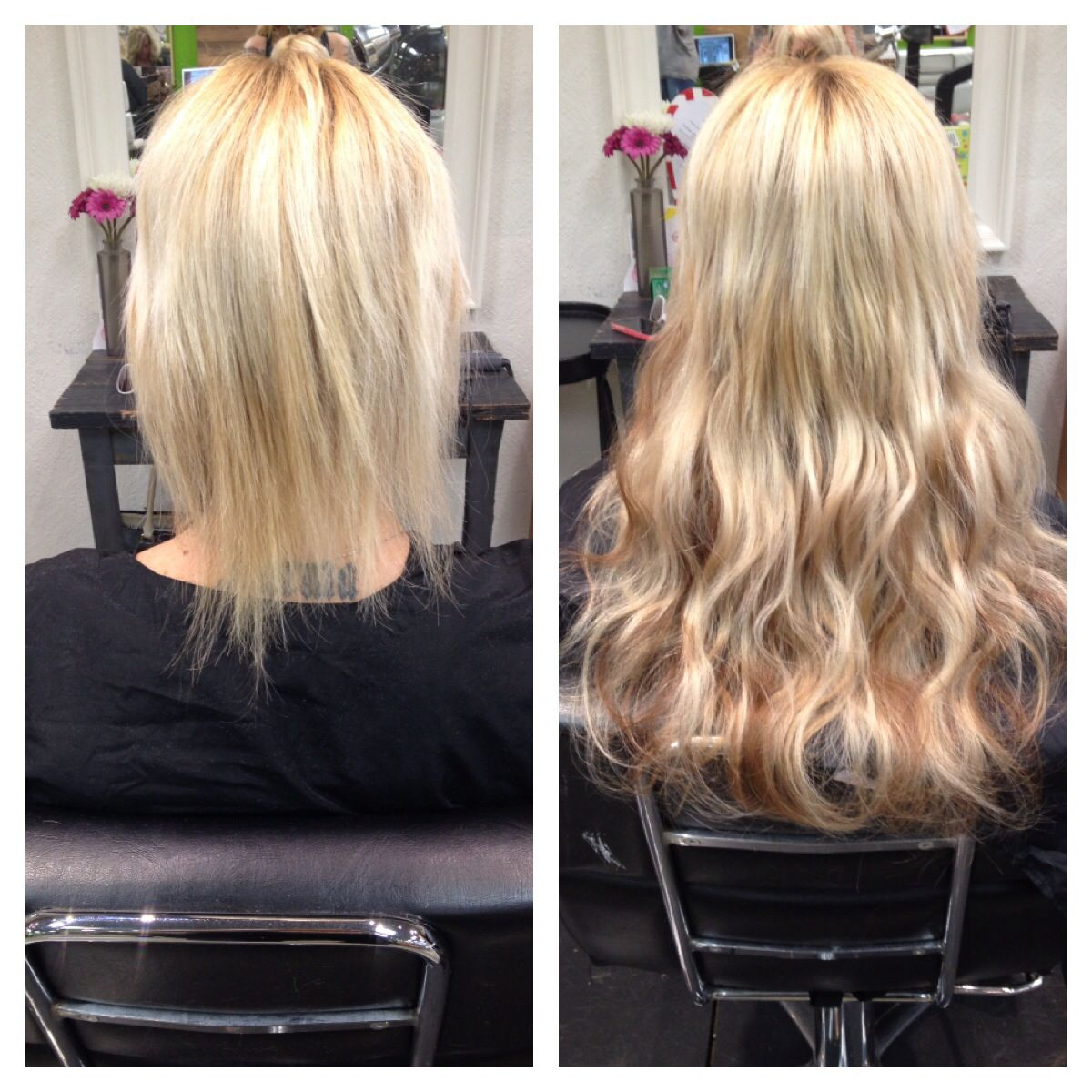 Full Head Of Cinderella Hair Extensions Keratin Glue Tips In Light Blonde And Two Shades Caramel Lowlights