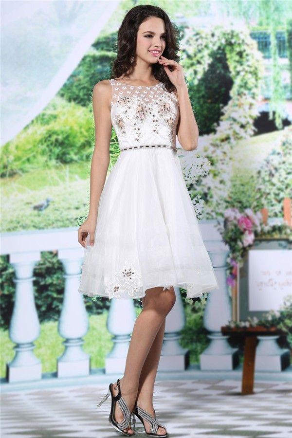 bateau white prom dress