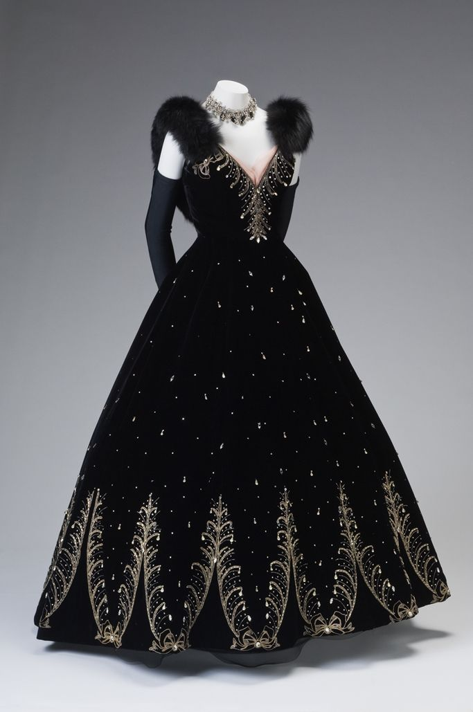 Ball Gown, Philip Hulitar (American, 1903-1992): ca. 1950-1955, silk velvet with metallic thread embroidery worked with crystal rhinestones.