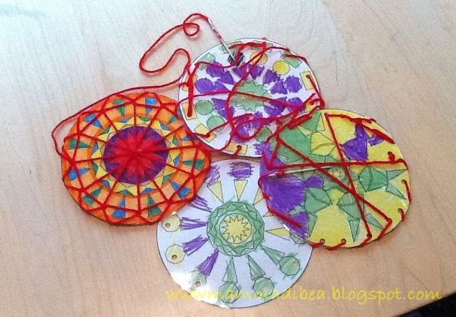 mom bea: Sewing MANDALA cards for Art on Wednesday