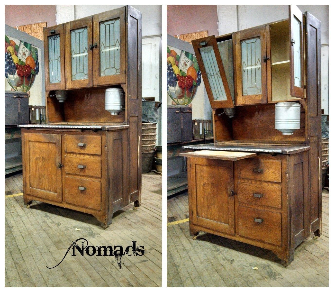 Antique Oak Hoosier with Flour Sifter Cabinet Storage ...