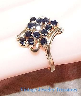 Estate Vintage 10k Yellow Gold Sapphire Cluster Ring Size 8 Yellow Gold Sapphire Cluster Ring Vintage Jewelry
